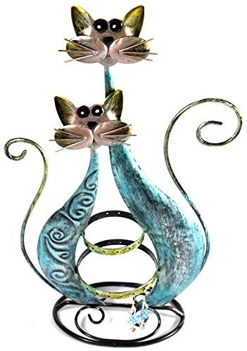 Bejeweled Display®Twin Blue Cat Fancy Earring Stand~Organizer~Holder Jewelry Display w/ Gift Box