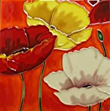 Continental Art Center BD-0309 8 by 8-Inch Three Poppy Flowers with Orange Background Ceramic Art Tile