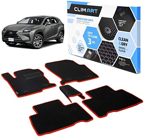 CLIM ART Honeycomb Custom Fit Floor Mats for Lexus NX 2015-2021, 1st & 2nd Row, Car Mats Floor Liner, All-Weather, Car Accessories for Man & Woman, Tapetes para Autos, Black/Red – FL051515060