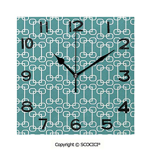 SCOCICI Square Wall Clock Vintage 60S Home Decor Inspired Retro Squares and Circles Tile Like Image Decorative 8 inch Morden Acrylic Mirror Wall Clocks Silent Square Decorative Clock