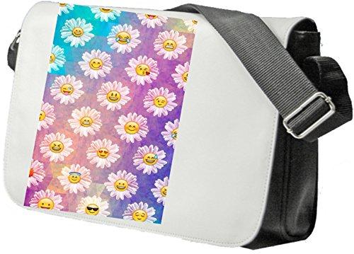 """Schultertasche """"Smileyblumen Blumen mit Smily Gesicht"""" Schultasche, Sidebag, Handtasche, Sporttasche, Fitness, Rucksack, Emoji, Smiley"""