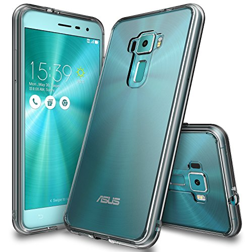 Ringke Fusion Compatible with Zenfone 3 Case Clear PC Back TPU Bumper [Drop Protection, Shock Absorption Technology] Raised Bezels Protective Cover for Asus Zenfone 3 (ZE552KL) - Smoke Black