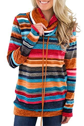 Tees Stripe Hoodie Tops (Womens Sweatshirt Tunic Long Sleeve Pullover Hoodie Top Cowl Neck Fit Stripe Drawstrings Sports Top Tee Pocket Multi M)