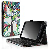 Infiland Samsung Galaxy Tab A 7.0 Keyboard Case, Folio Slim Fit PU Leather Case Cover with Magnetically Detachable Bluetooth Keyboard For Samsung Galaxy Tab A 7.0 7-Inch Tablet,Lucky Tree
