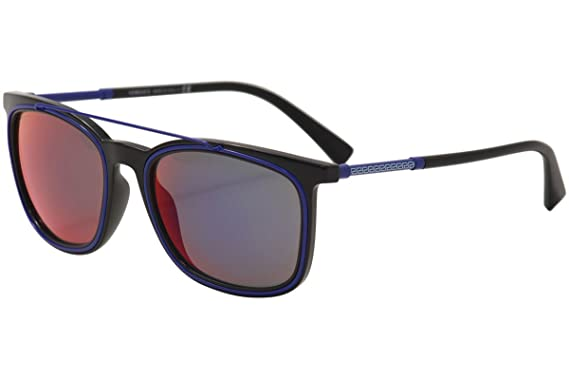 e7d46e428ba9b Amazon.com  Versace Men s VE4335 Black Dark Grey Mirror Blue Red One ...