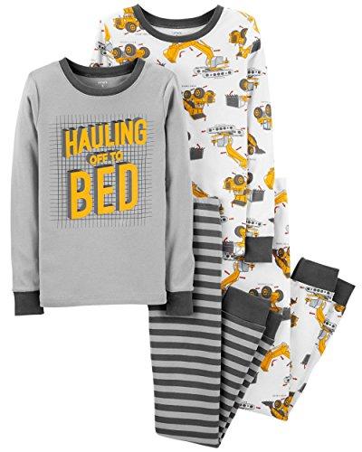 Carter's Boys 4 Pc Pajama PJs Sleep Play Sleep Snug fit Cotton Construction Truck Print (5)