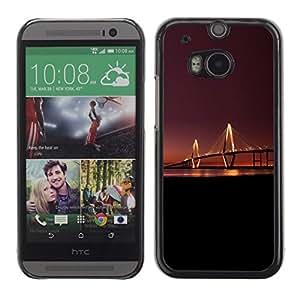 PC/Aluminum Funda Carcasa protectora para HTC One M8 Bridge Light Long Night Sunset River City Art / JUSTGO PHONE PROTECTOR