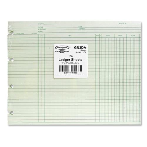 Wilson Jones Ledger Sheet, 3 Col., Sngl, 9-1/4''x11-7/8'', 100/PK, Green (GN2D)