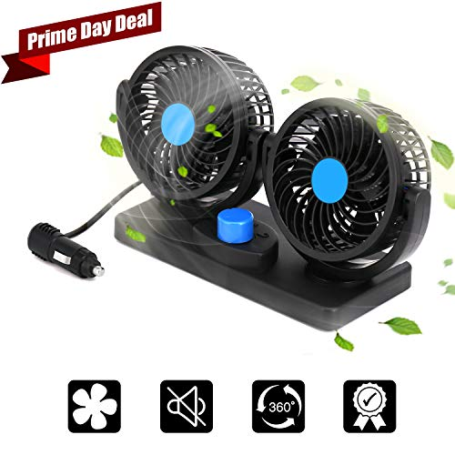 imoocare Car Fan 12V Electric Cooling Fan - 2 Speed Adjustable Auto Cooling Air Fan 360 Degree Rotatable Double Head for SUV/RV Vehicles