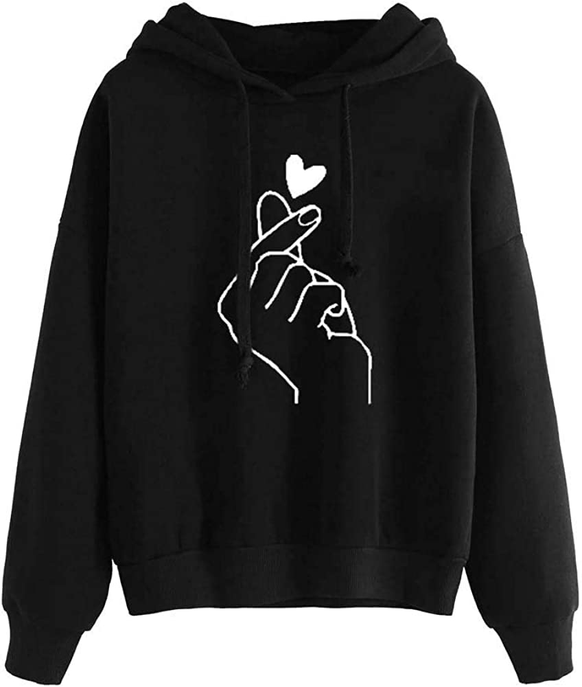 Fashion Valentines Day Heart Shape Printed Pullover Casual Loose Long Sleeve Hoodie Hotkey Sweatshirts for Women
