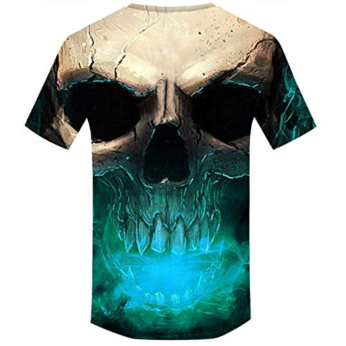 Allywit Skull T Shirt Skeleton T-Shirt Gun Tshirt Gothic Shirts Punk Tee 3D t-Shirt Anime Male Styles Green by Allywit-Mens (Image #1)