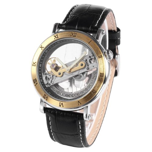 (AMPM24 Gold Tone Steampunk Transparent Skeleton Mens Automatic Mechanical Sport Watch PMW167)