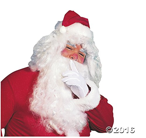 Adult's Santa Full-size Wig and 13'' Beard. - Christmas Santa Claus Costume by Fun Express (Image #1)