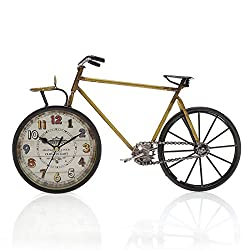 Chaomian Home Ornaments 15.2x8.8 Handcrafted Metal Bicycle Analog Silent Quartz Desk Clock,vintage Rustic Look,Glass on Front (Yellow)
