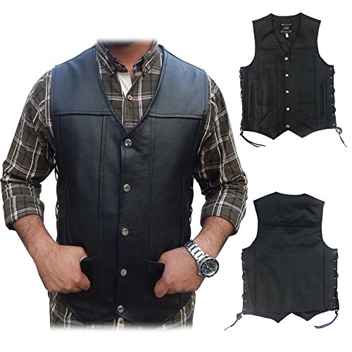 2Fit Men's Black Genuine Leather 10 Pockets Motorcycle Biker Vest New S To 9XL (7XL (CHEST 62 INCHES)) (Fits Pockets Chest)