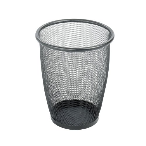 Safco Products Onyx Round Mesh Wastebasket, Steel Mesh, 5gal, - Round Mesh Wastebasket Onyx