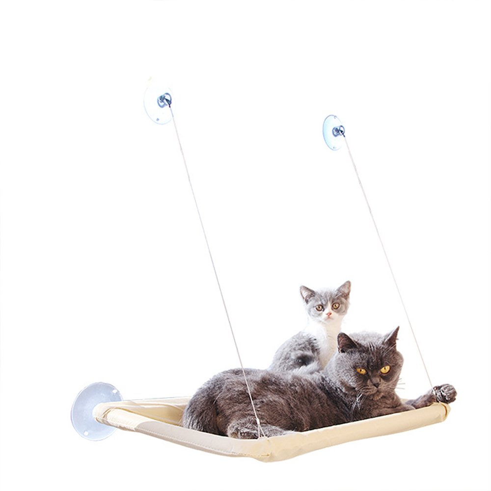 CWAY Cat Window Perch with Firm Suction Cups,Safest Cat Bed, Space Saving Cat Hammock, Pet Resting Seat Mount onto Window