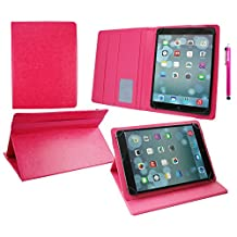 Emartbuy® Hipstreet 10.1 Inch Phoenix Tablet Universal ( 9 - 10 Inch ) Hot Pink Premium PU Leather Multi Angle Executive Folio Wallet Case Cover Pink Interior With Card Slots + Pink Stylus