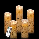 Vinkor Flameless Candles Flickering Battery Operated Candles 4'' 5'' 6'' 7'' 8'' Set of 5 Classic Real Wax Pillar with Moving LED Flame & 10-Key Remote Control 2/4/6/8 Hours Timer 400+ Hours (Birch Bark)