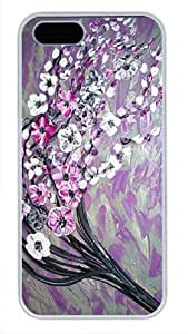 White PC Case Well-Designed Case Cover for iPhone 5 5S Hard Single Back Phone Shell Skin iPhone 5 5S with Purple White Silver Tree Floral