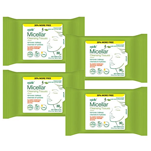 Epielle Micellar Facial Cleansing Tissues Wipes Towelettes - 30ct (Sheets) per pack, Total 4 packs ()