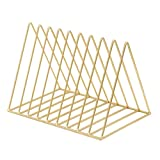 Zikken Triangle File Organizer Wire Collection 9 Section Desktop Iron Storage Rack Bookshelf Magazine Holder for Office or as Home Decoration (Gold)