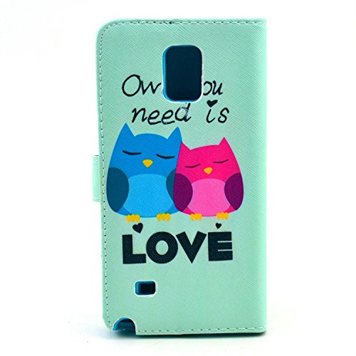 For Samsung Note 4 Case, Welity Retro owl Love PU Leather Wallet Type Magnet Design Flip Case Cover Credit Card Holder Pouch Case for Samsung Galaxy Note 4 and one gift