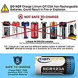 Keenstone 3.7V 700mAh Li-ion Rechargeable RCR123A Battery 12 PCS 8 Slot Charger Arlo Security Cameras