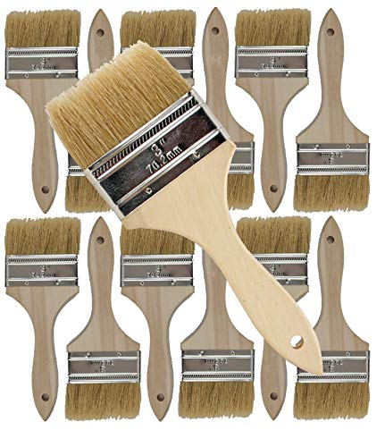 12 Pack of Single X Thick Paint and Chip Paint Brushes for Paint, Stains, Varnishes, Glues, Acrylics and Gesso. (3') ()