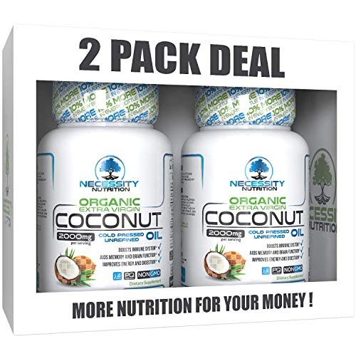 2 PACK Coconut Oil Organic Extra Virgin 132 Softgel/Capsules/Pills 2000mg Pure Cold Pressed Non GMO - Great Natural Supplement Source - Supports Weight Loss