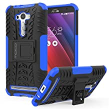 ASUS Zenfone 2 Laser Case - MoKo Heavy Duty Rugged Dual Layer Armor with Kickstand Protective Cover for ASUS Zenfone 2 Laser (ZE550KL / ZE551KL) 5.5 Inch Smartphone 2015 Release, BLUE
