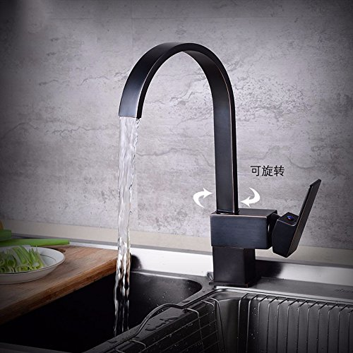 AWXJX Copper Minimalist Retro In Style and Basin Kitchen Toilet Rotation Hot and Cold Black Sink Mixer Taps