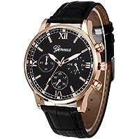 Hot Sale! Charberry Mens Belt Watch Retro Design Leather Band Analog Alloy Quartz Wrist Watch (Black)