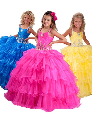 GreenBloom Crystals Princess Girls' Straps Organza Crystals Pageant Dresses Blue 2