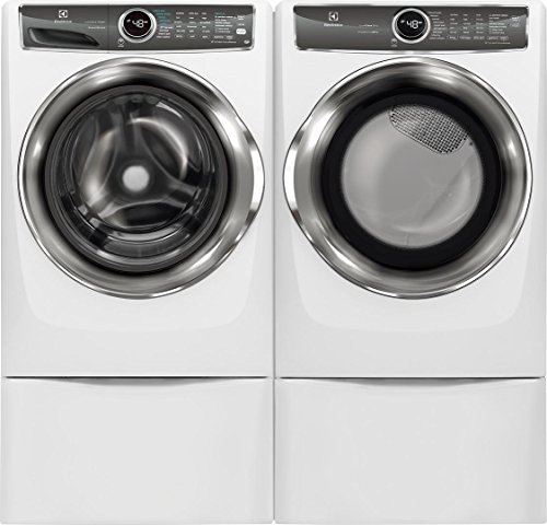 Electrolux White Front Load Laundry Pair with EFLS627UIW 27″ Washer, EFME627UIW 27″ Electric Dryer and 2 EPWD257UIW Pedestals
