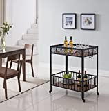 Vintage Brown Black Metal Heavy-Duty Industrial Style 2-tier Serving Wine Tea Dining Kitchen Cart Bottle Holder