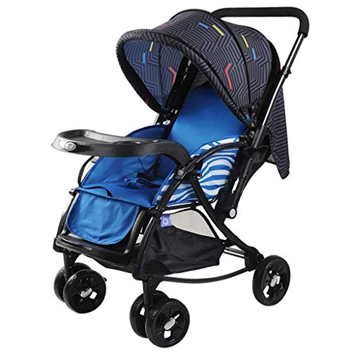 LLYU Pushchairs-Baby Cart Lightweight Foldable Can Sit/Lie Trolley Cotton Cushion Widen The Body Two-Way Push Rod with Basket Full Cover Awning Anti-UV(51 83 100cm ) (Color : Blue)
