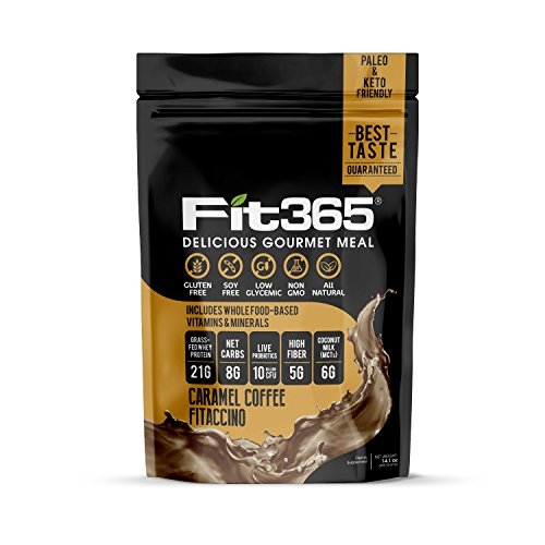 Fit 365 Gourmet Shake, Caramel Coffee Fitacinno, Natural Undenatured 100% Grass Fed Protein, Low Carb, Keto Paleo Friendly, Low Glycemic, Organic MCTs, NO: GMO, Artificial Sugar, Soy, or Preservatives