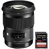 Sigma 50mm f/1.4 DG HSM ART Lens for Nikon F SLR Cameras (311306) + Sandisk Extreme PRO SDXC 128GB UHS-1 Memory Card