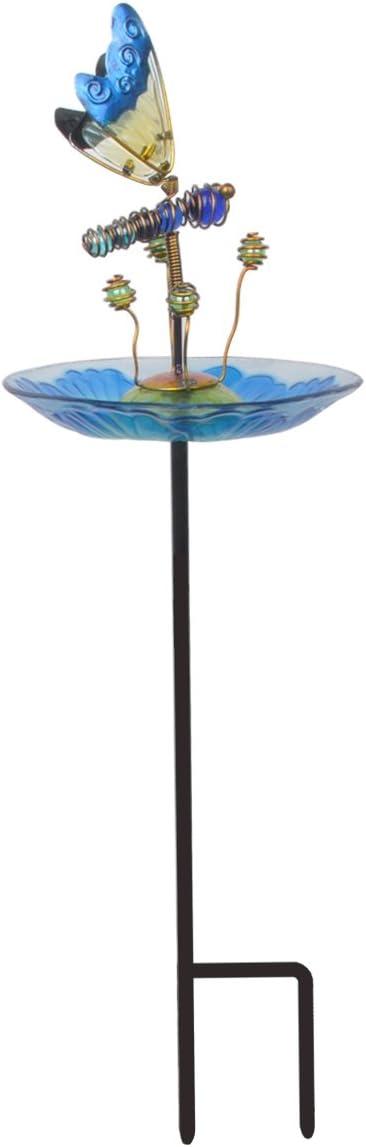 Peaktop 3214551C Outdoor Garden Bird Feeders, Blue/Butterfly