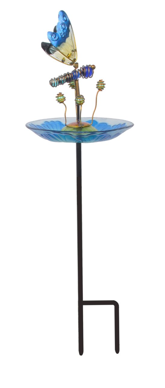 Peaktop 3214551C Outdoor 8'' Butterfly Fusion Glass Bird Feeder, Multi-color