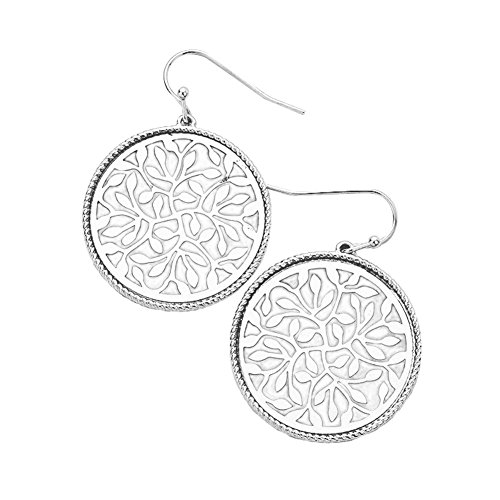 "one in Silver-Tone Open Work Lacy Filigree Leaf Design Dangle Drop Earrings 1 1/2"" ()"