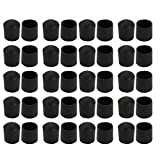 uxcell 40pcs Furniture Desk Chair Round Rubber Leg Tip Cap 22mm Inner Dia Fitting Black