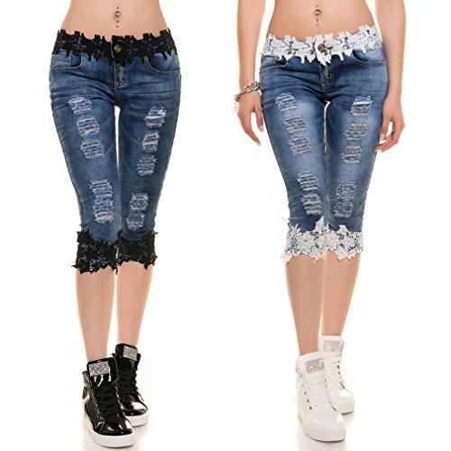 Femmes Mid Pantalons Capris Creuse 2XL d't Bleu de Taille Slim la Demi Recadre Dentelle en Jeans Longueur Mode S Les PdfqB8P