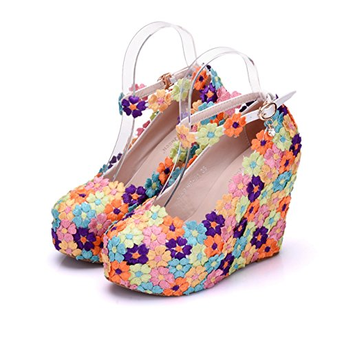 Ankle Platform Pumps Minishion Wedge High Hidden Multicolor 12cm Heel Womens Heel Flowers Strap Wedding 1rvx1q8