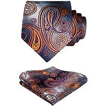 HISDERN Paisley Floral Wedding Tie Handkerchief Woven Classic Men's Necktie & Pocket Square Set