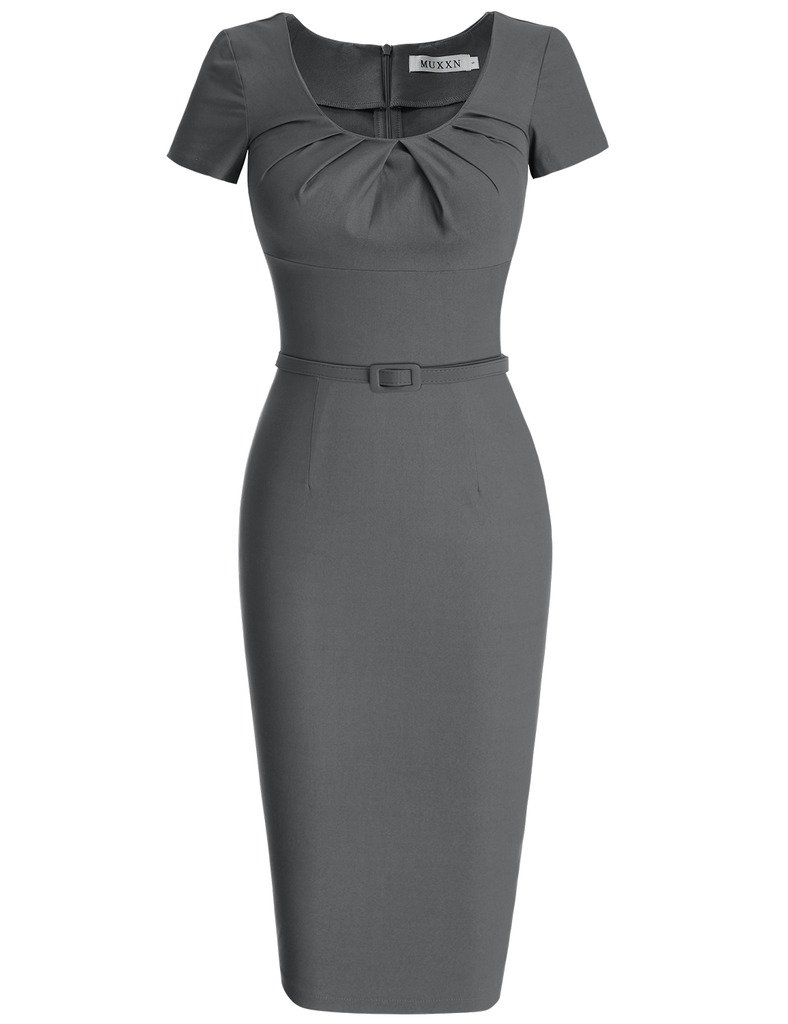 MUXXN Women's Rockabilly 1920s Style Scoop Collar Business Dress (M Gray)