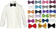 LEADERTUX Baby Boy Formal Tuxedo Suit White Button Down Dress Shirt Color Bow tie Sm-4T