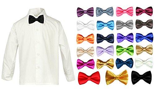 LEADERTUX Baby Boy Formal Tuxedo Suit White Button Down Dress Shirt Color Bow tie Sm-4T (4T, Burgundy) by LEADERTUX
