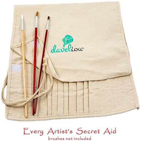 Daveliou Paint Brush Holder - 24 Slot Artist Paint Brushes Case - Natural Canvas Rollup - Paintbrush (Rollup Brush Holder)